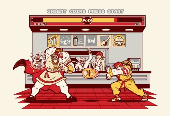 Street Fighter - Burger King - Ronald McDonald - Art - Parody
