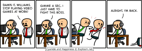 Cyanide and Happiness - Gaming at Work 2 - Rob DenBleyker - Comic